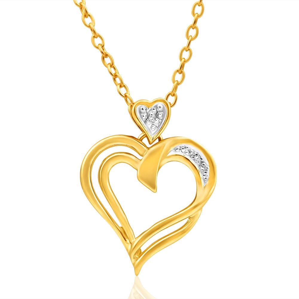 9ct Yellow Gold Diamond Heart Pendant