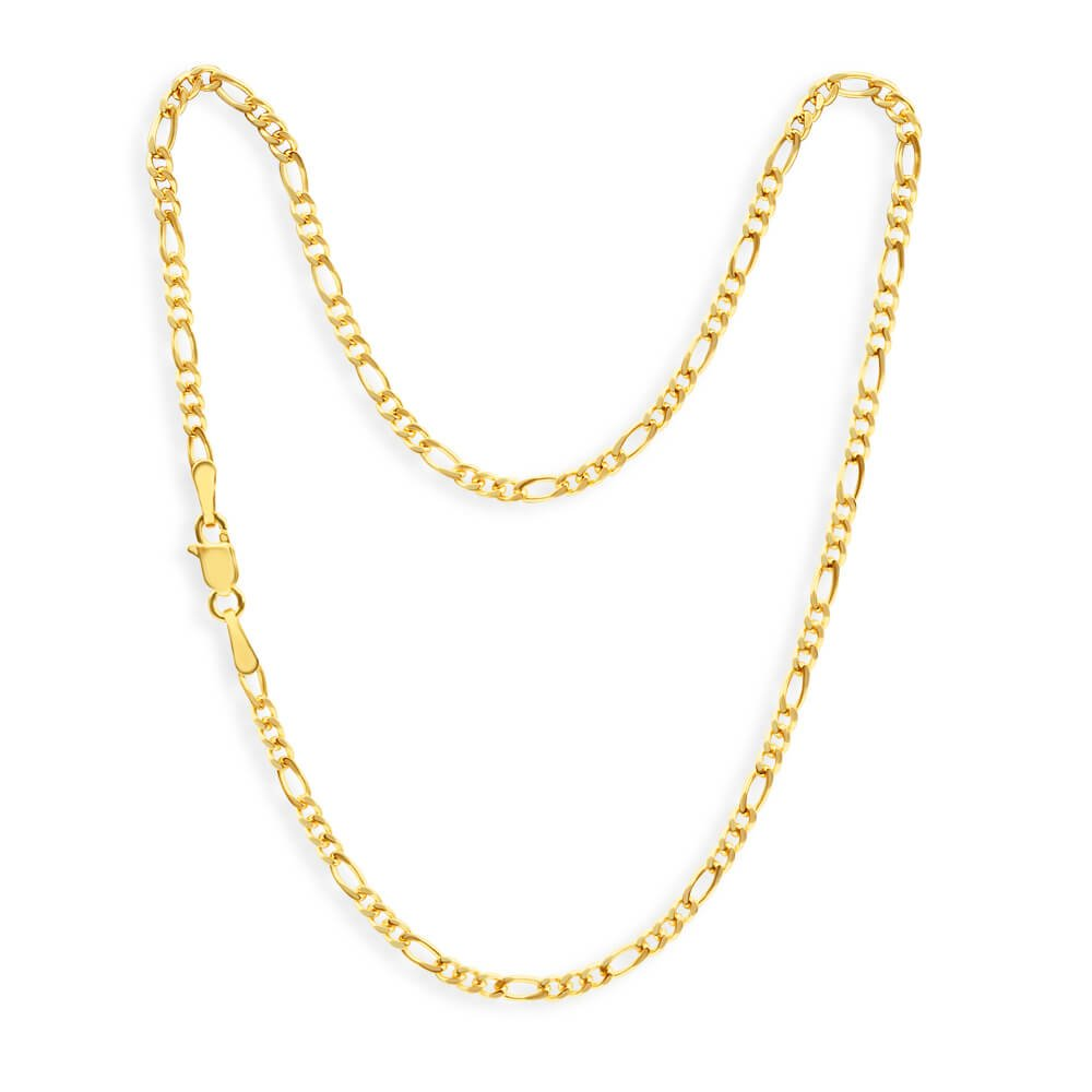 9ct Yellow Gold 1:3 Figaro 60Gauge 27cm Anklet