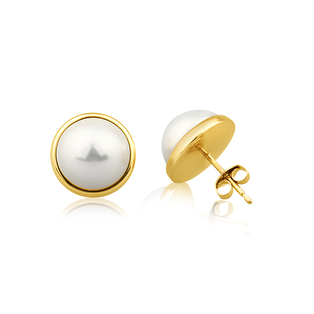 9ct Yellow Gold Simulated Pearl Stud Earrings