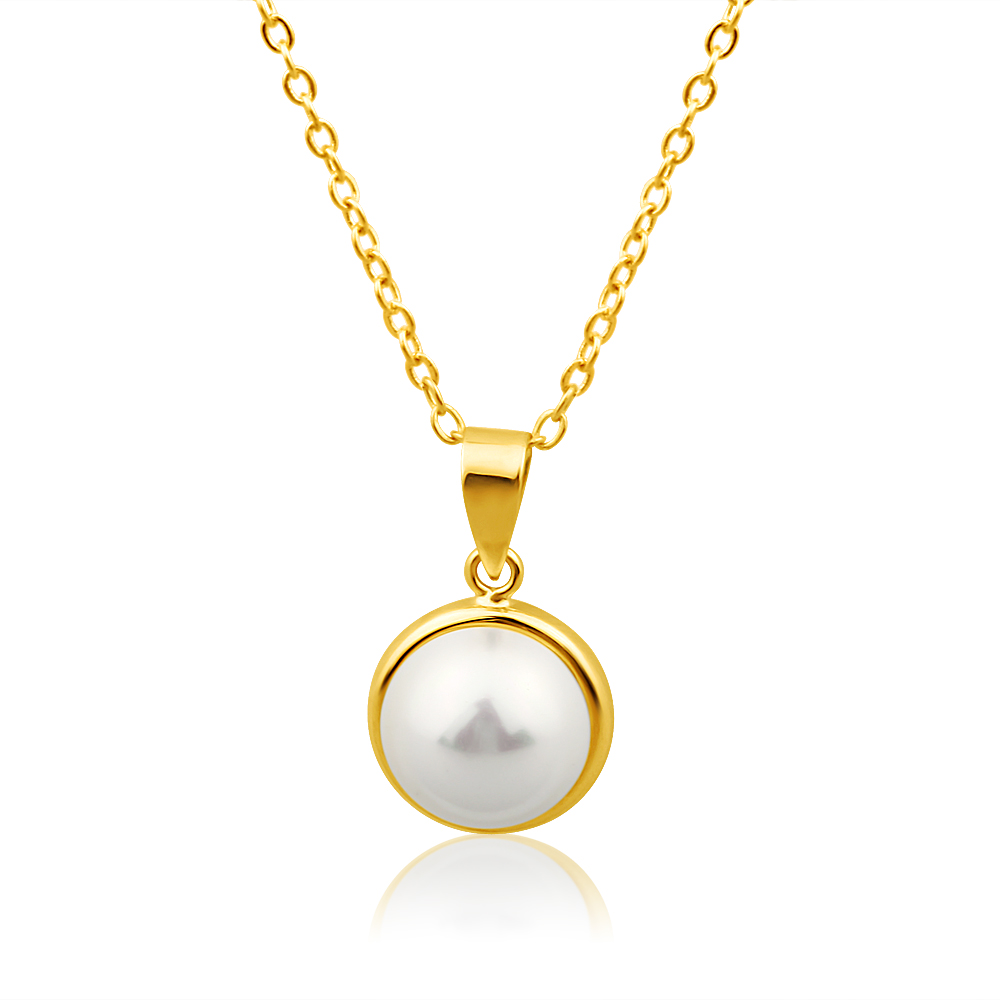 9ct Yellow Gold Simulated 9mm Pearl Pendant