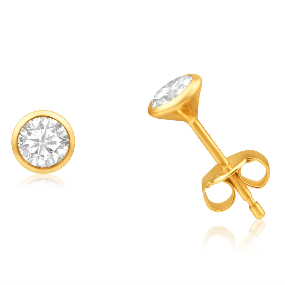 9ct Yellow Gold Cubic Zirconia 4mm Bezel Set Stud Earrings