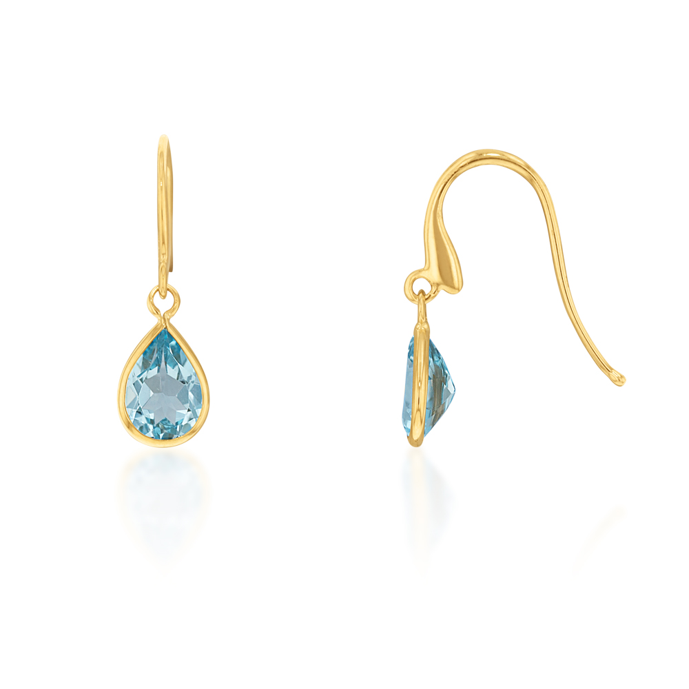 9ct Alluring Yellow Gold Blue Topaz Drop Earrings