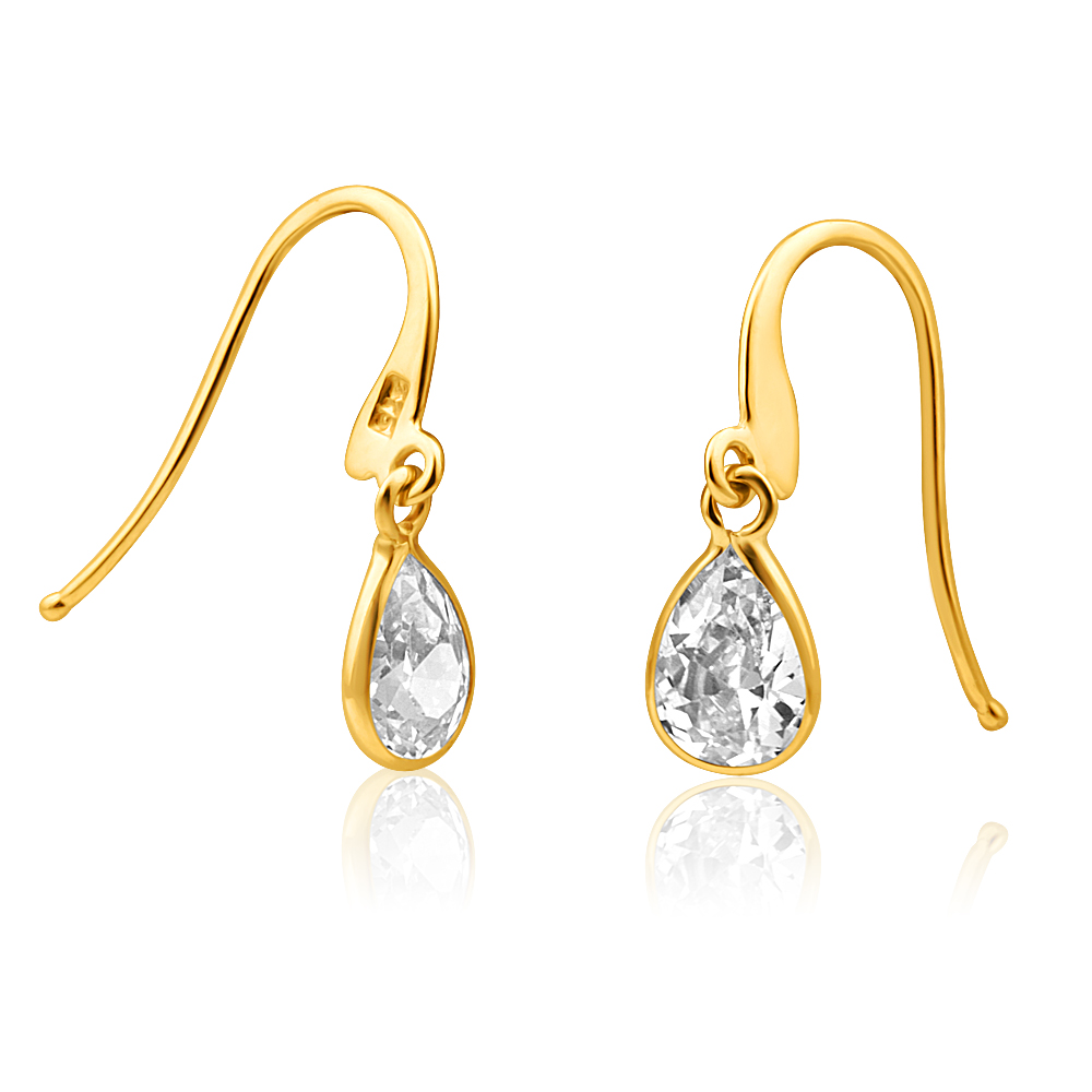 9ct Elegant Yellow Gold Cubic Zirconia Drop Earrings