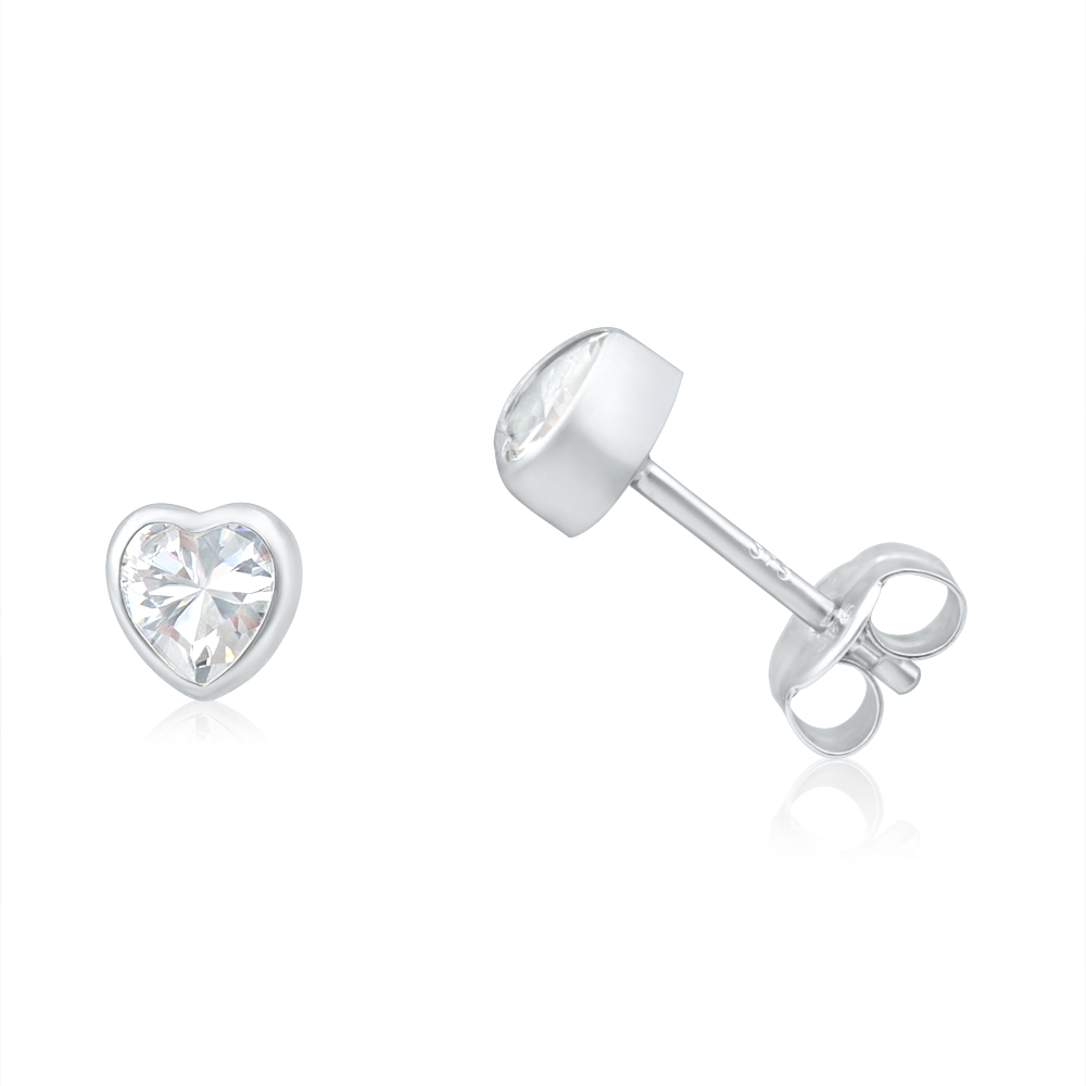 9ct White Gold Heart Cubic Zirconia Stud Earrings