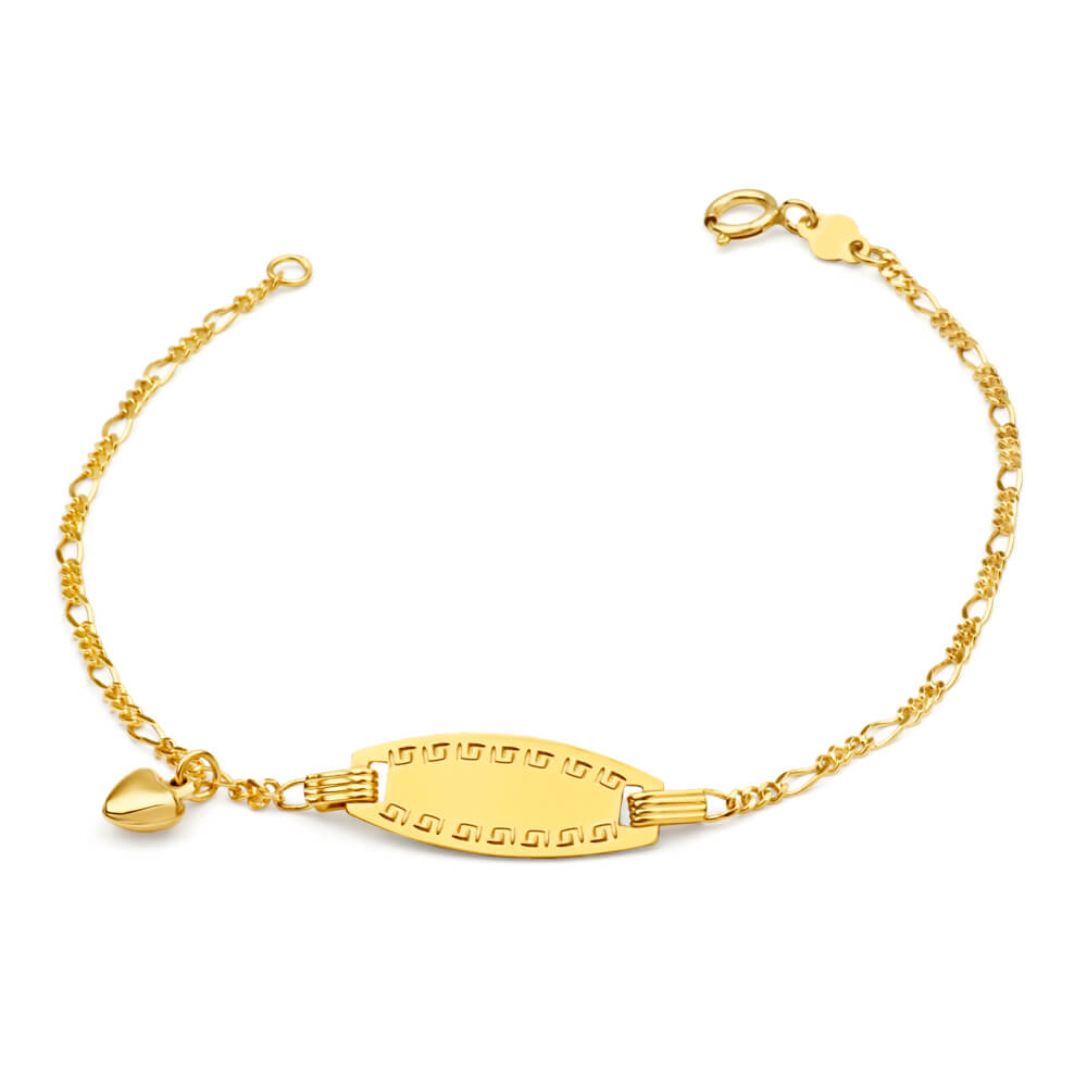 9ct Yellow Gold ID Belcher 16cm Bracelet with Heart Charms