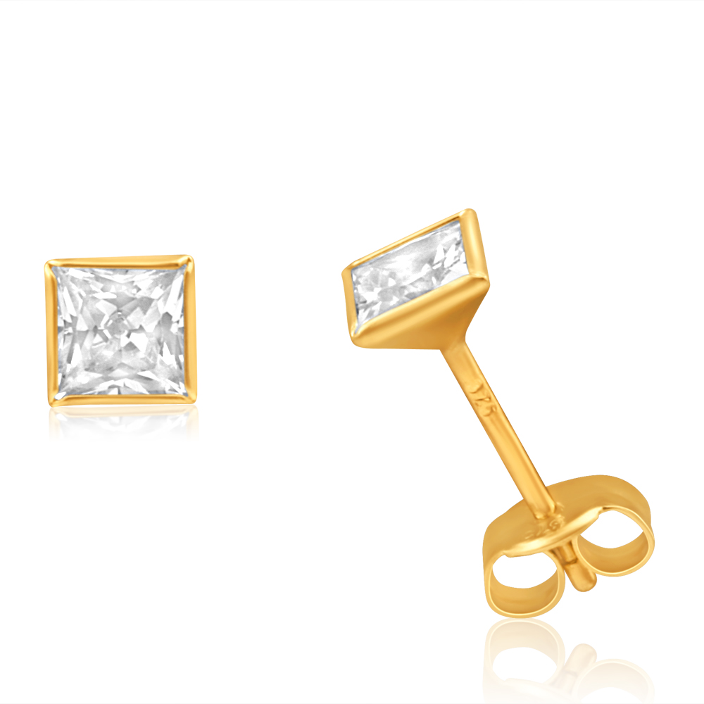 9ct Yellow Gold Cubic Zirconia 4mm Princess Cut Stud Earrings