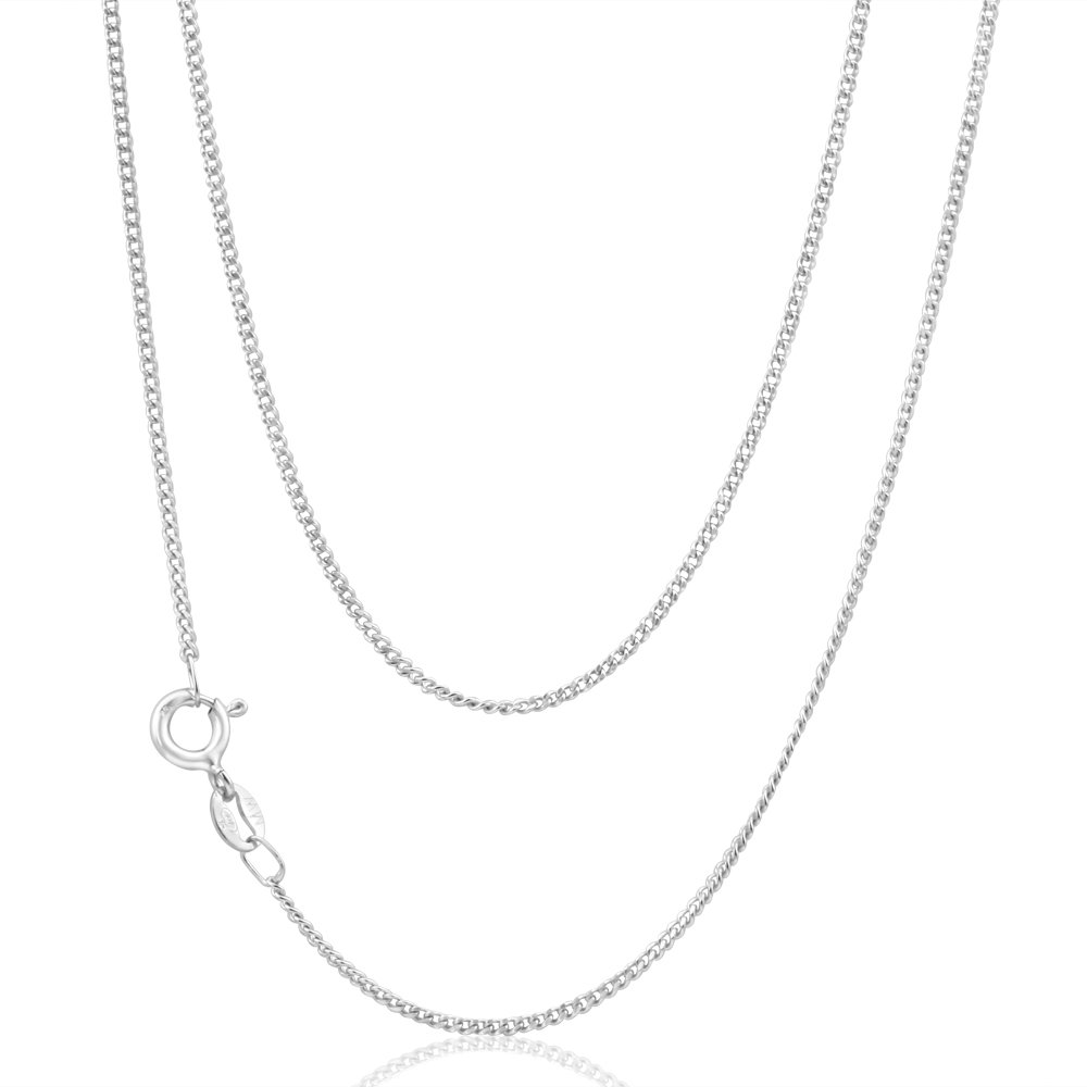 9ct White Gold Curb Chain 45cm long diamond Cut