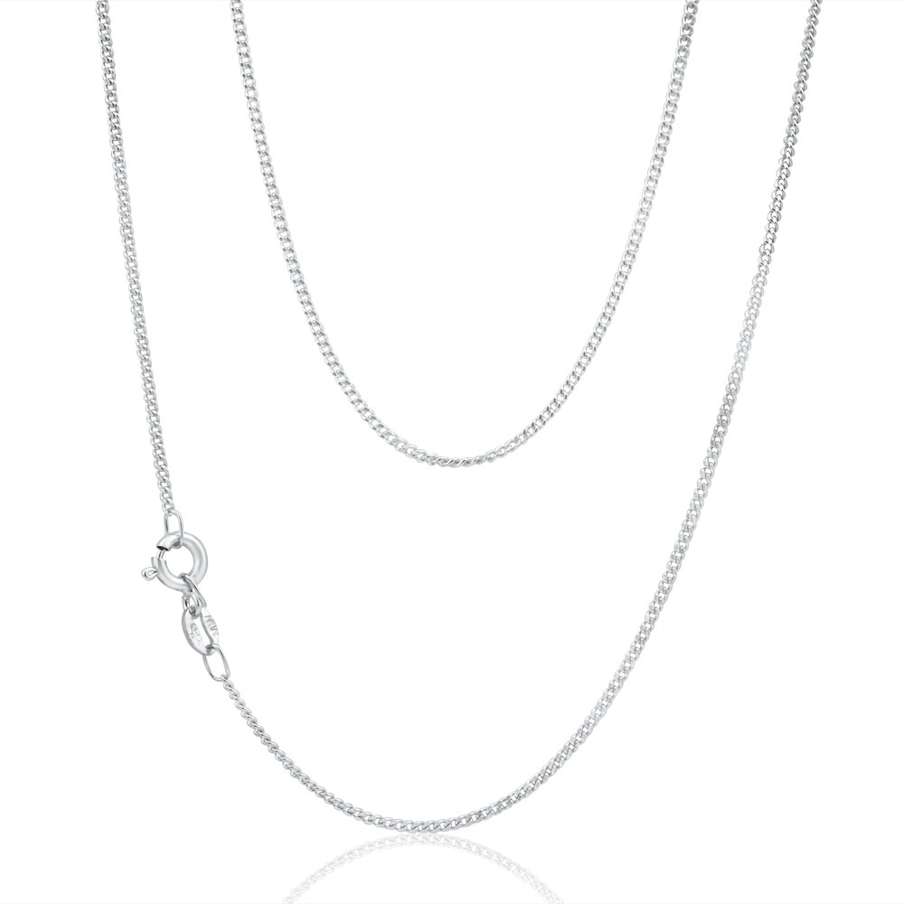 9ct White Gold Diamond Cut Curb 50cm Chain