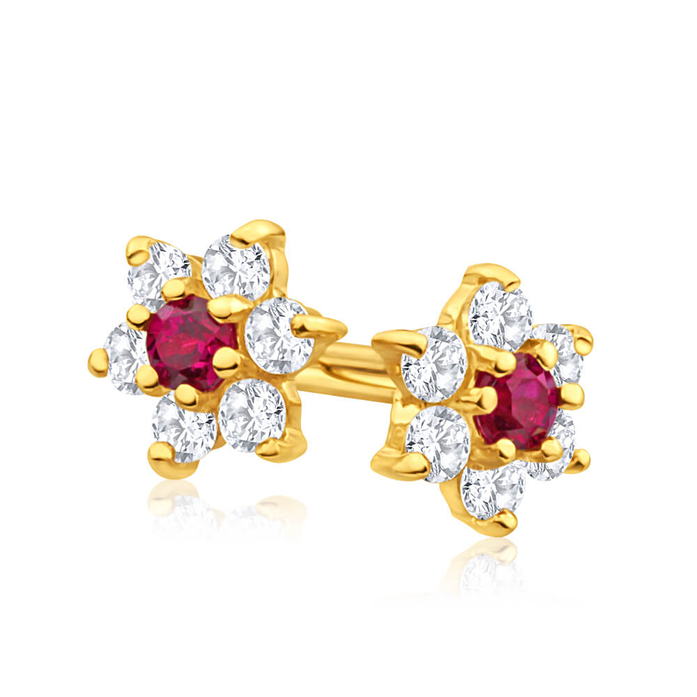 9ct Alluring Yellow Gold Created Ruby + Cubic Zirconia Stud Earrings