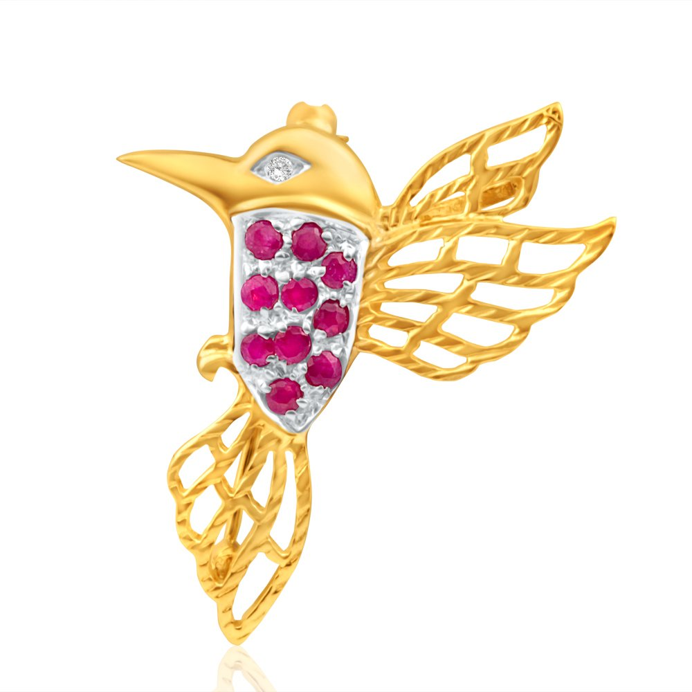 9ct Yellow Gold Diamond + Ruby Hummingbird Brooch