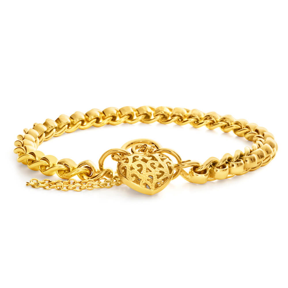 9ct Charming Yellow Gold Copper Filled Roller Bracelet