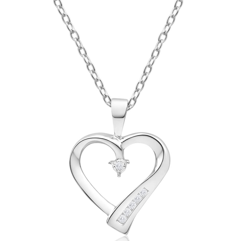 9ct White Gold Heart Shaped Channel Set Diamond Pendant