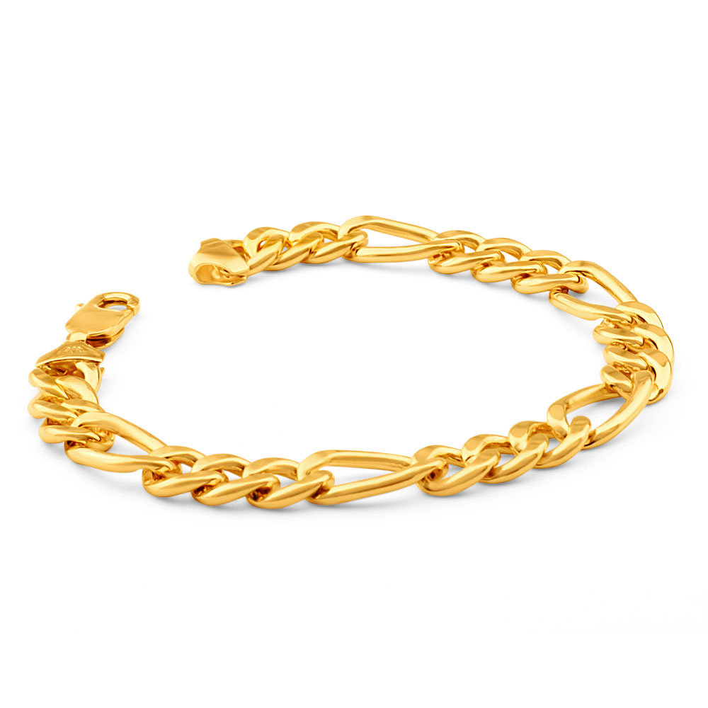 9ct Yellow Gold Copper Filled 3:1 Figaro 21cm Bracelet 230Gauge