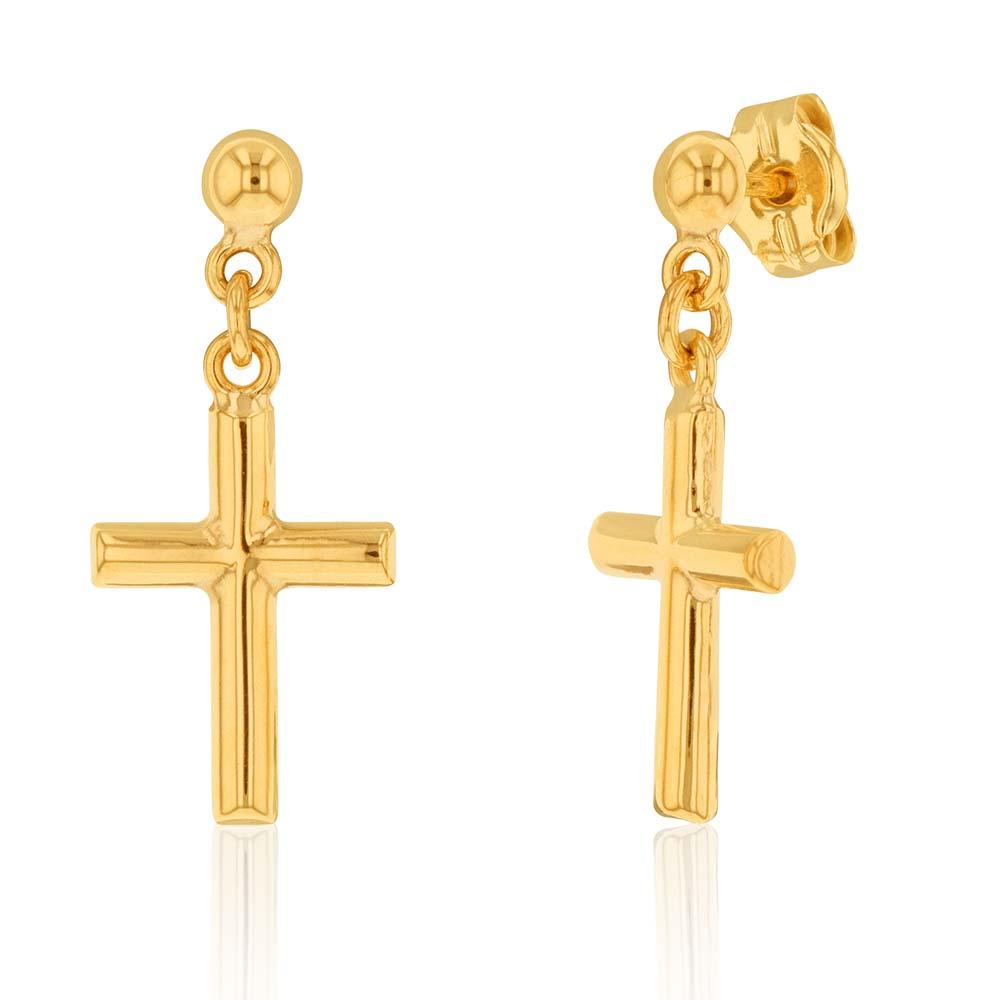 9ct Yellow Gold Cross Drop Earrings
