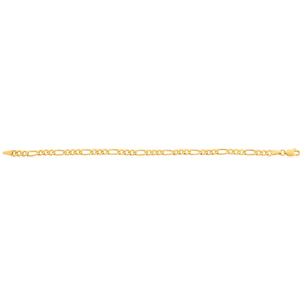 9ct Yellow Gold Coppefilled 19cm Figaro Bracelet 100Gauge