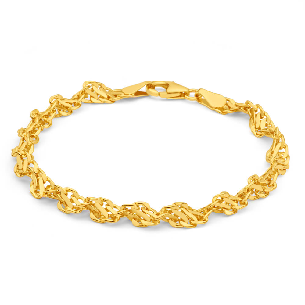 9ct Yellow Gold CopperFilled 19cm Singapore Bracelet 70Gauge