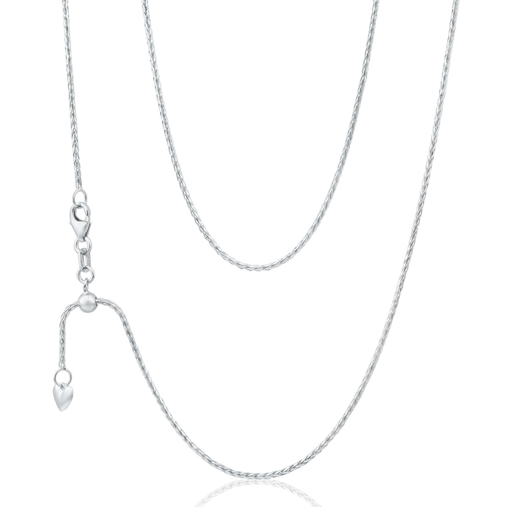 9ct White Gold Wheat Chain