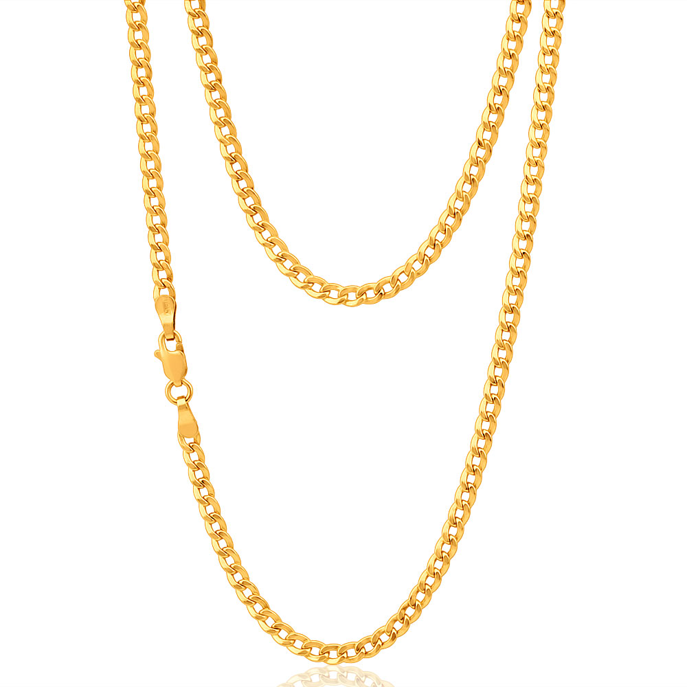 9ct Elegant Yellow Gold Copper Filled Curb 45cm Chain