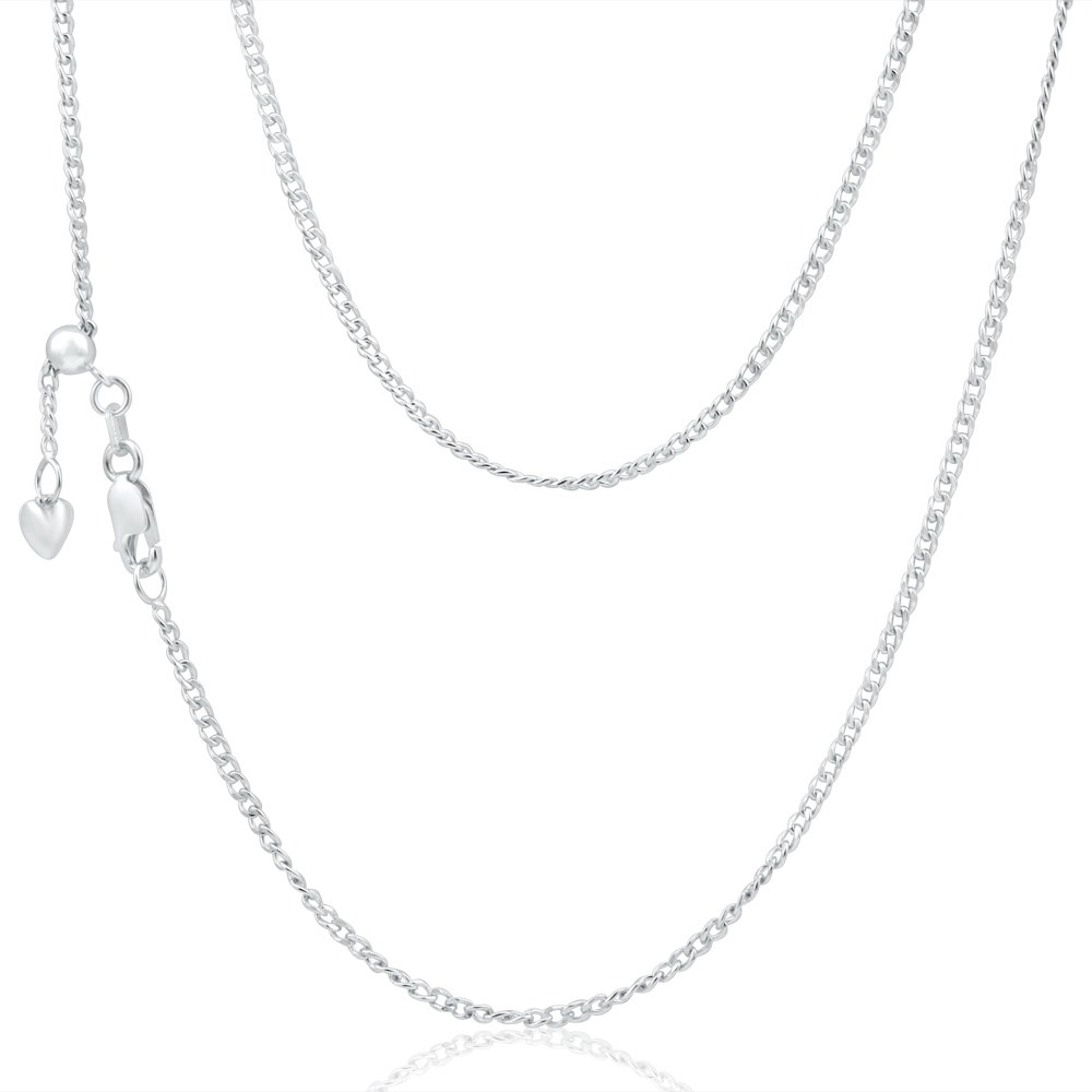 9ct Elegant White Gold Silver Filled Curb Chain