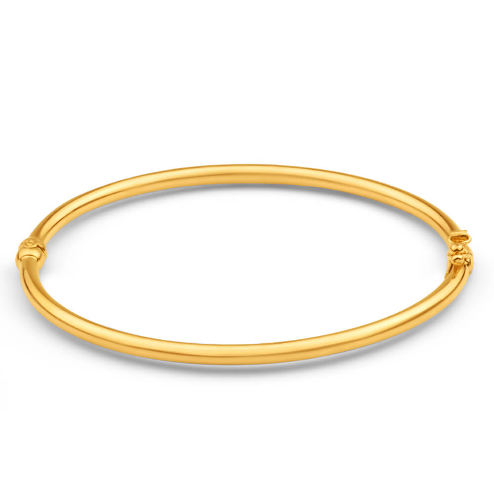 9ct Yellow Gold Silver Filled Plain Oval Hinge Bangle
