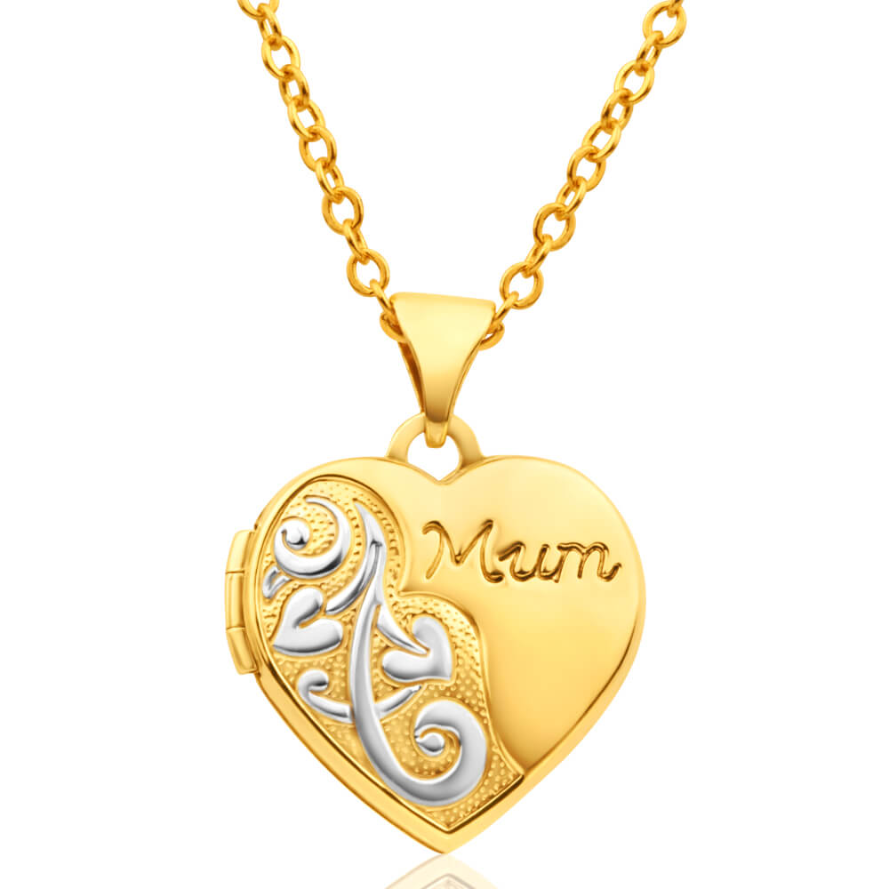 9ct Yellow Gold 'Mum' Floral Heart Locket