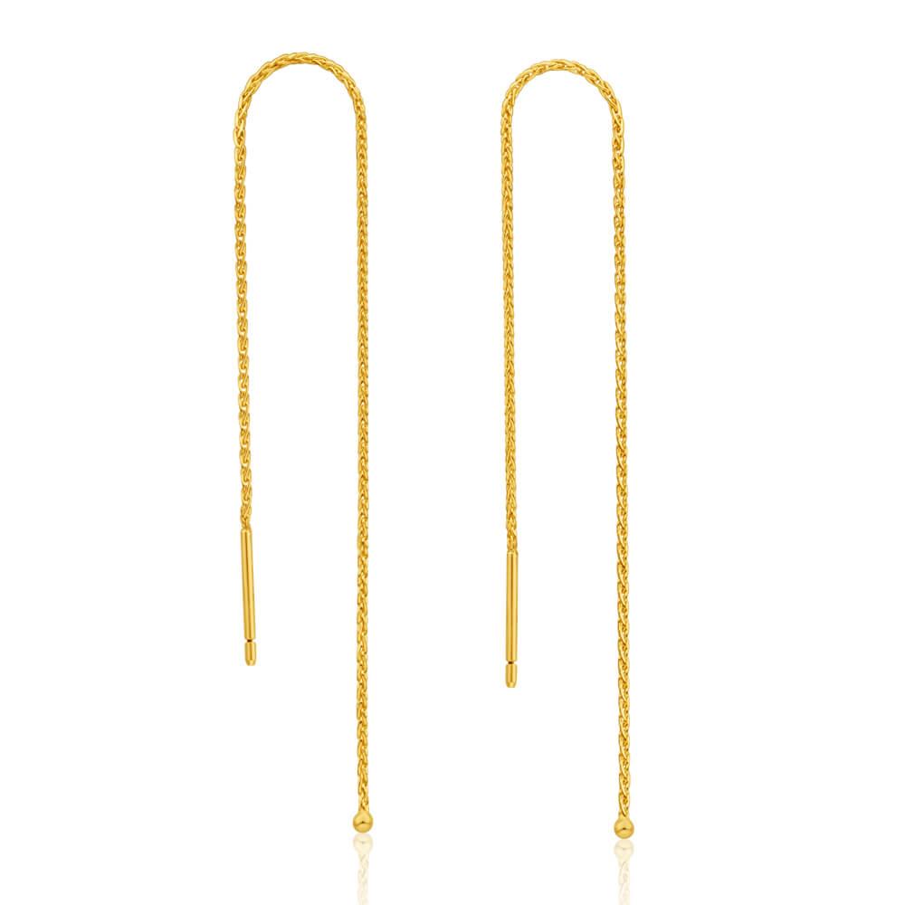 9ct Yellow Gold Fancy Threader Drop Earrings