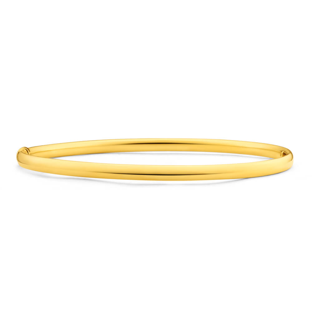 9ct Yellow Gold Silver Filled 4mm x 70mm Bangle