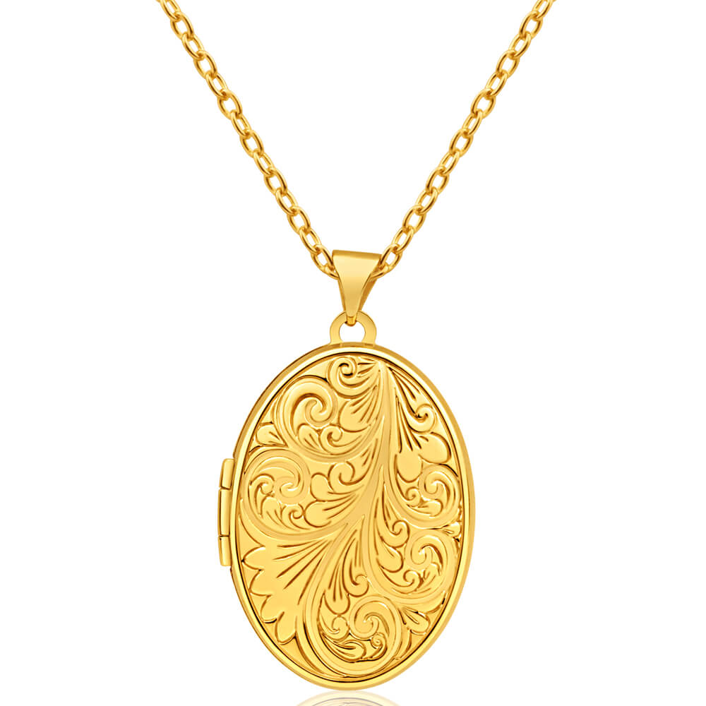 9ct Yellow Gold Oval Scoll Pattern Locket 26x18mm