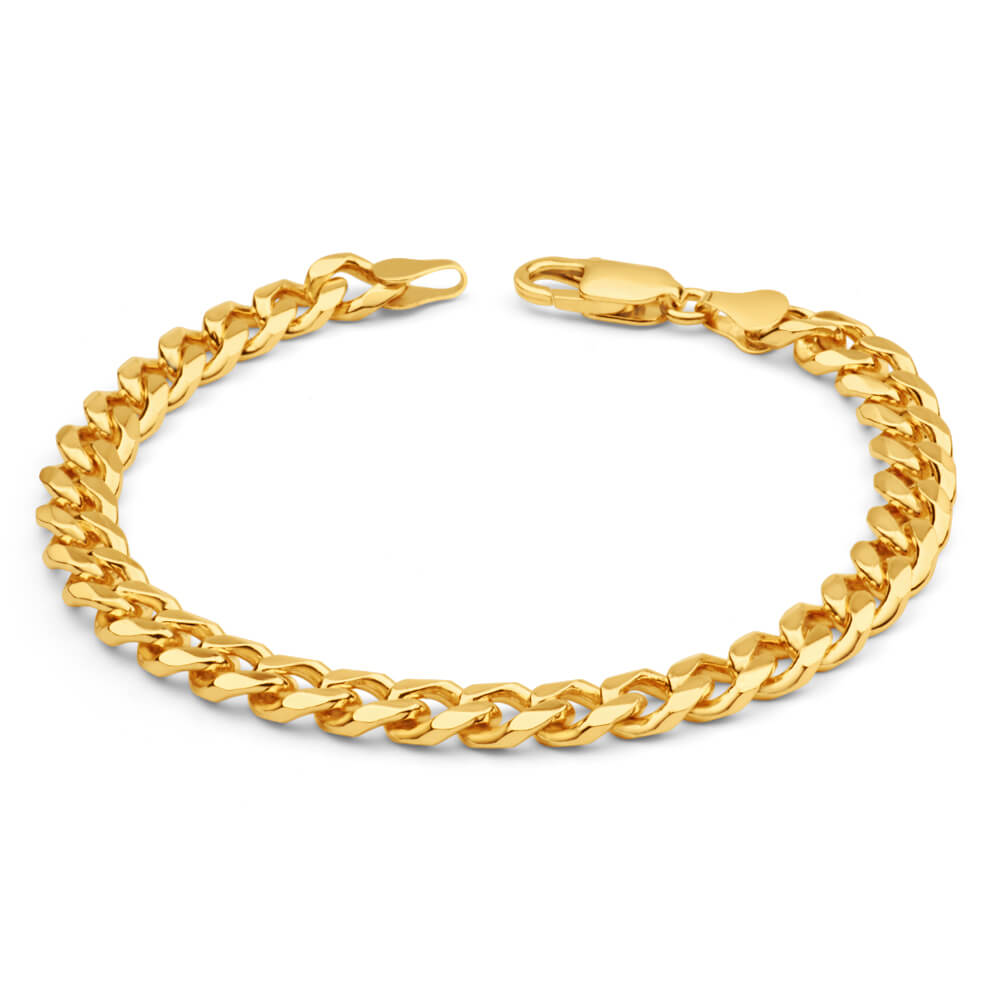 9ct Yellow Heavy Gold Curb 21cm Bracelet 200 gauge
