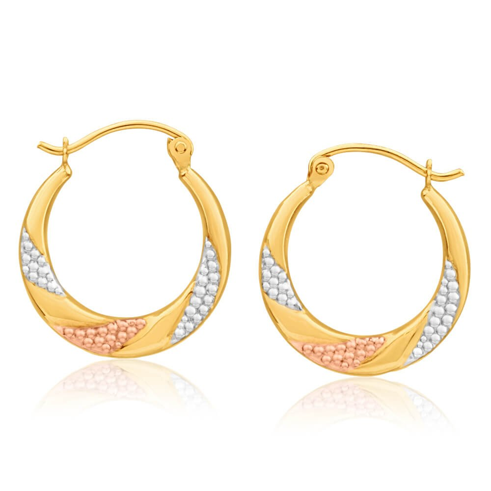 9ct Yellow Gold, White Gold & Rose Gold Fancy Creole Hoop Earrings