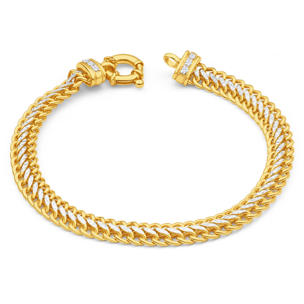 9ct Yellow Gold Silver Filled Cubic Zirconia Mesh Bracelet