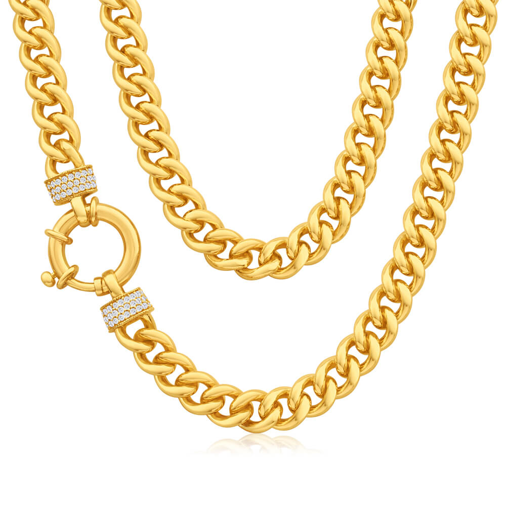 9ct Yellow Gold Zirconia Curb Chain