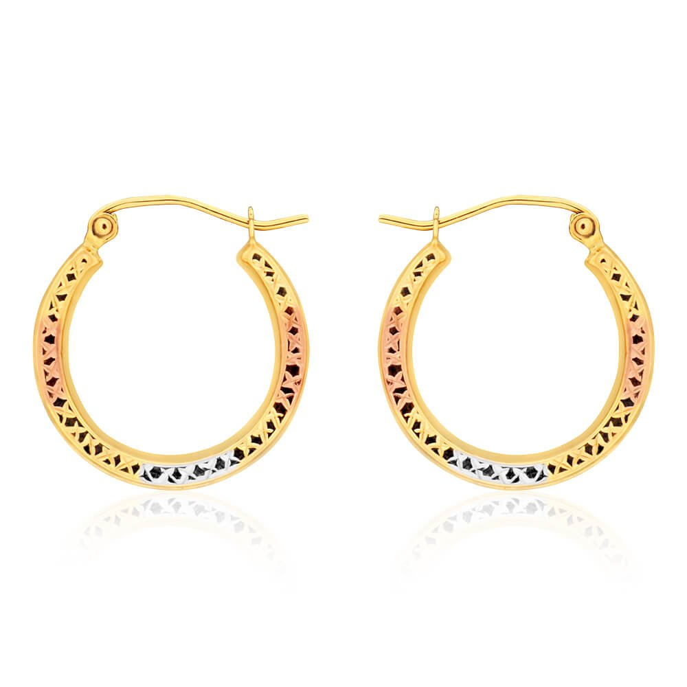 9ct Yellow Gold, White Gold & Rose Gold Cut Out Hoop Earrings
