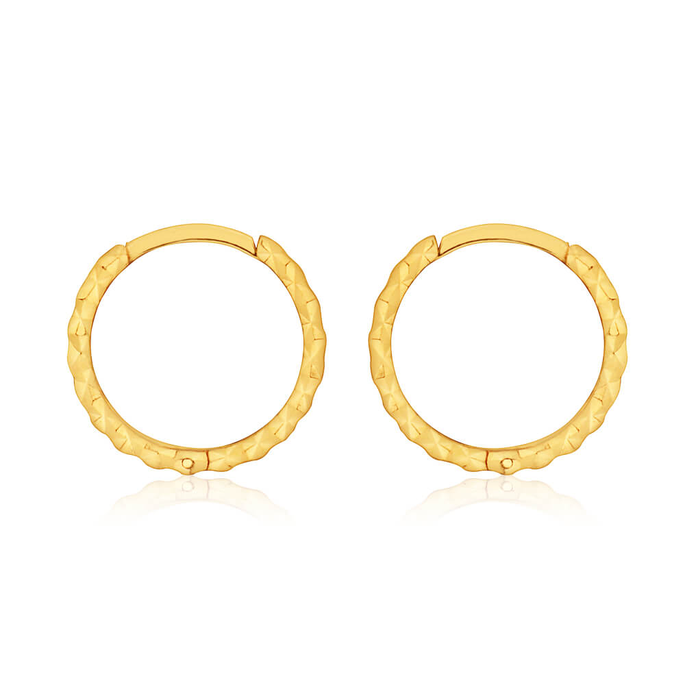 9ct Yellow Gold 10mm Dicut Hoop Earrings