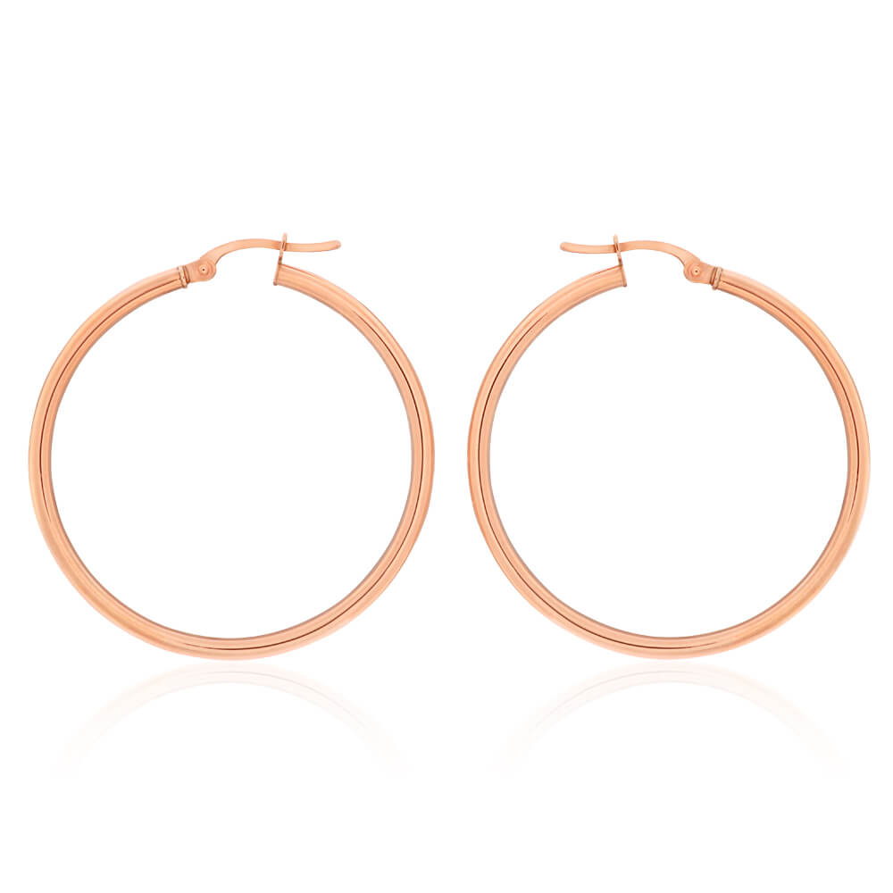 9ct Rose Gold Plain 30mm Hoop Earrings European made