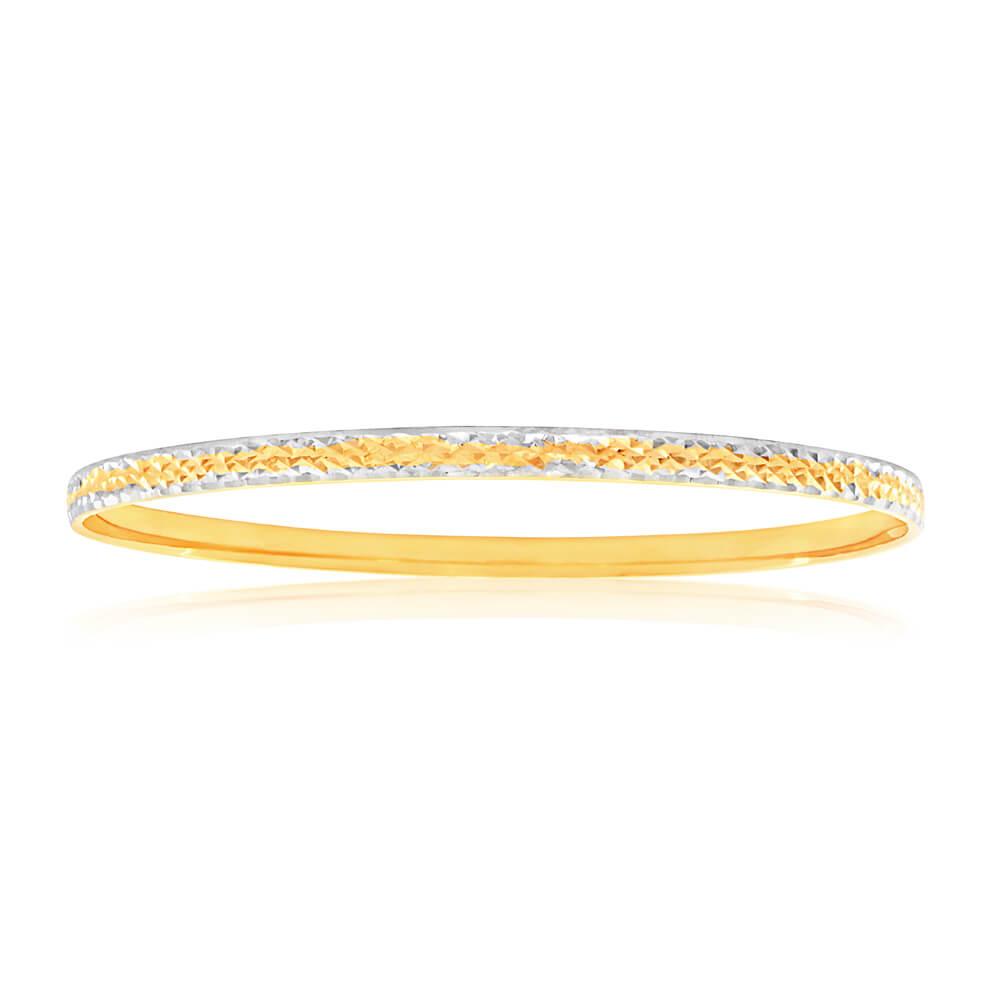 9ct Yellow Gold & Rhodium Gold Bangle with diamond cutting