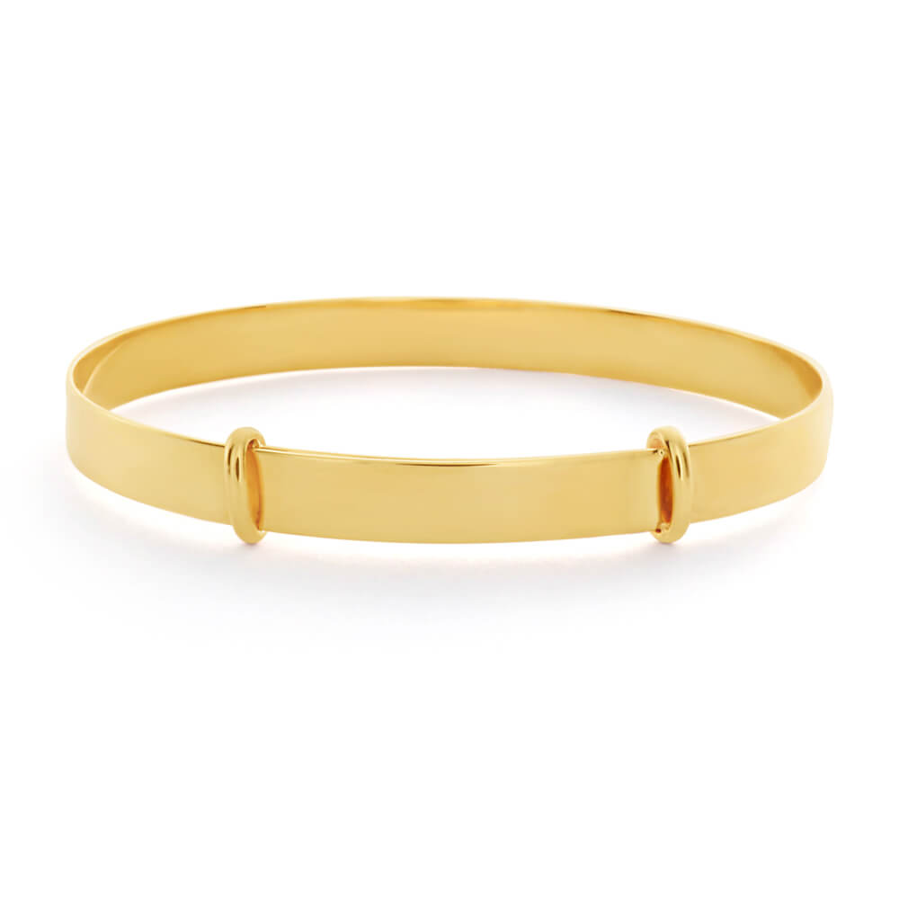 9ct Yellow Gold Extendable Plain 43mm Baby Bangle