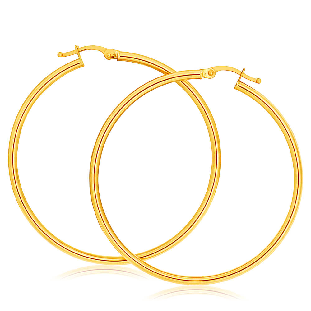 9ct Yellow Gold Plain Hoop 40mm European made