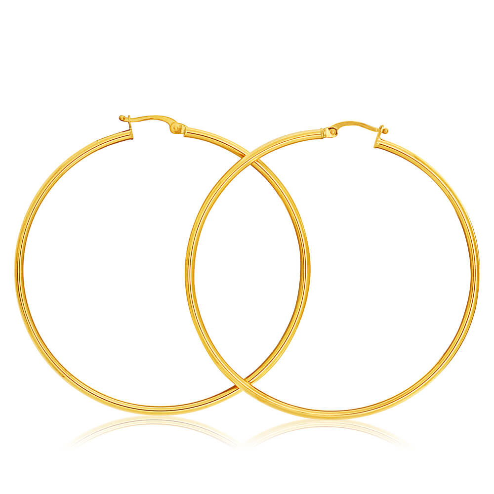 9ct Yellow Gold Plain Hoop 50mm European made