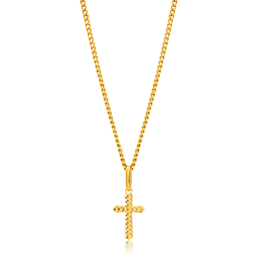 9ct Yellow Gold Plain & Diamond Cut 11mm Cross Pendant