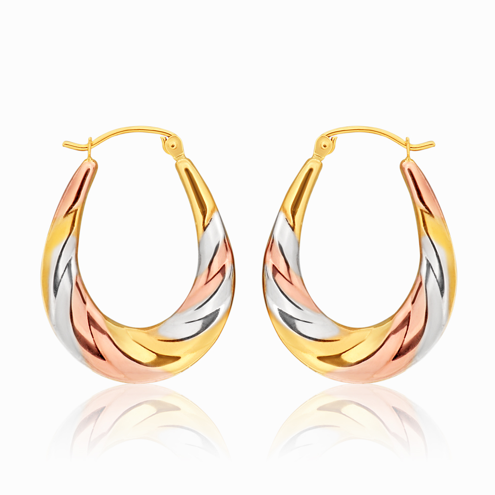 9ct three tone gold 13mm creoles with a twist