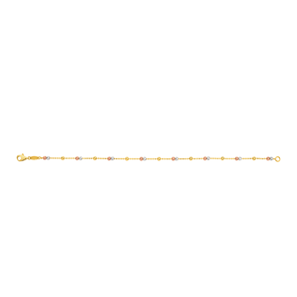 9ct Yellow Gold 19cm Bracelet with 3 Gold Tone Beads