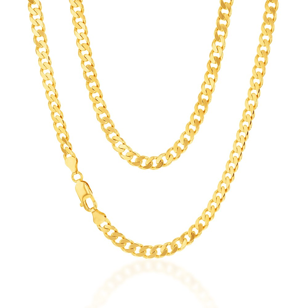 9ct Yellow Gold Flat Bevelled Curb 55cm Chain 180gauge