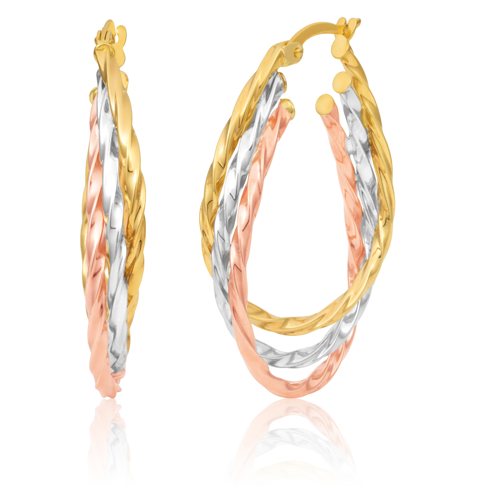 9ct Three Tones Gold Hoop Earrings
