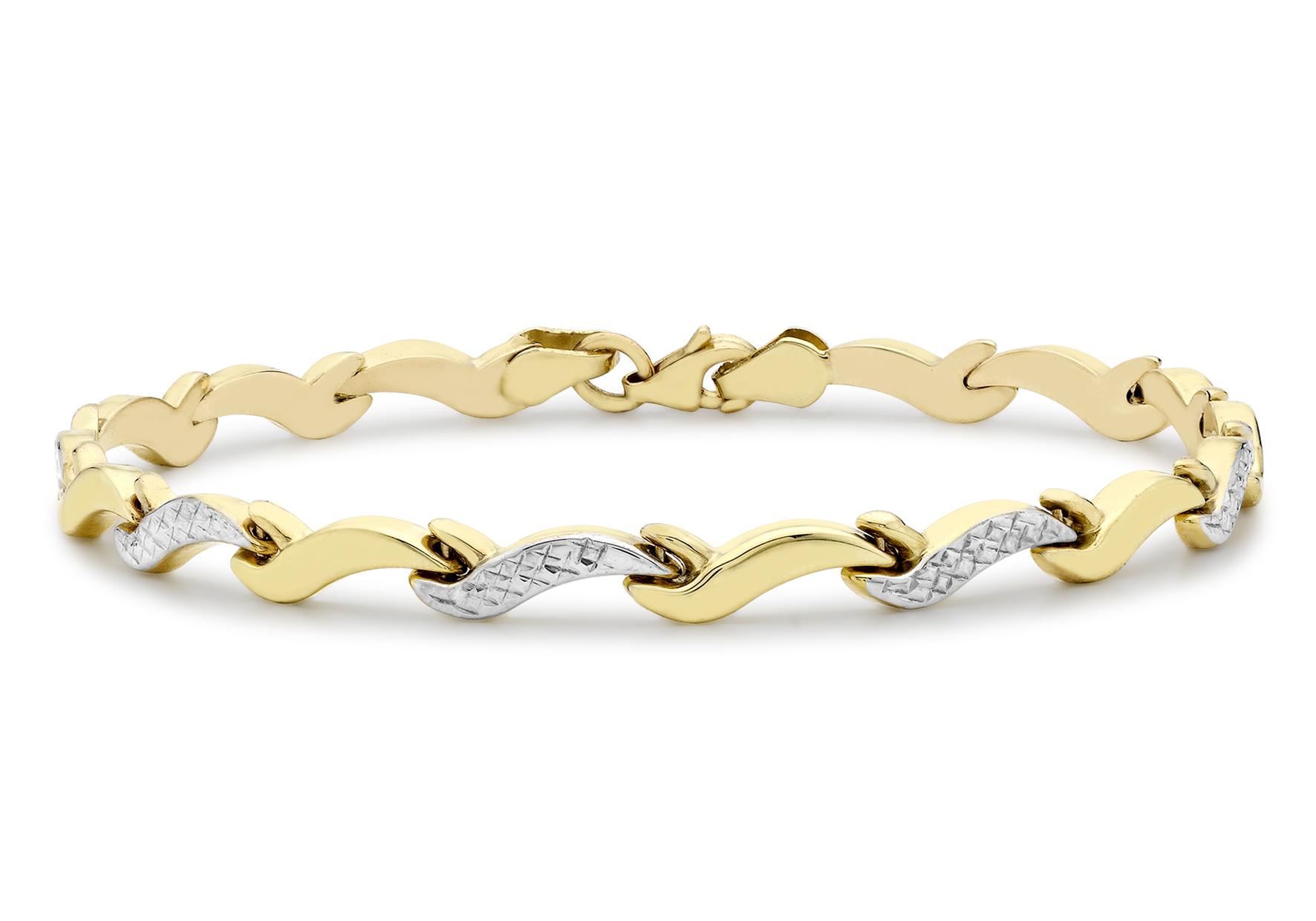 9ct 2-Colour Gold Diamond Cut Wave Link Bracelet 19 cm