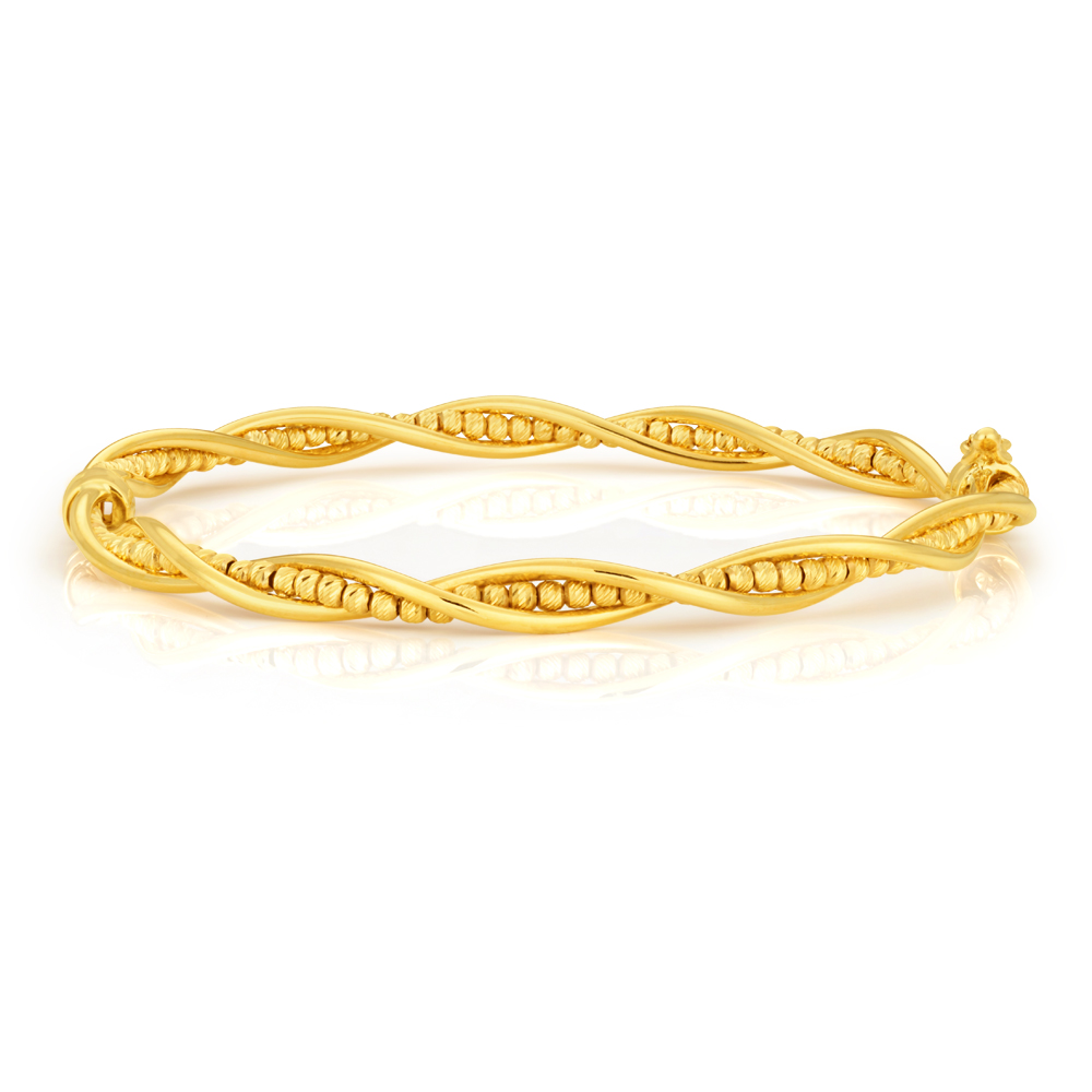 9ct Yellow Gold Fancy Twist Bead Bangle 9y