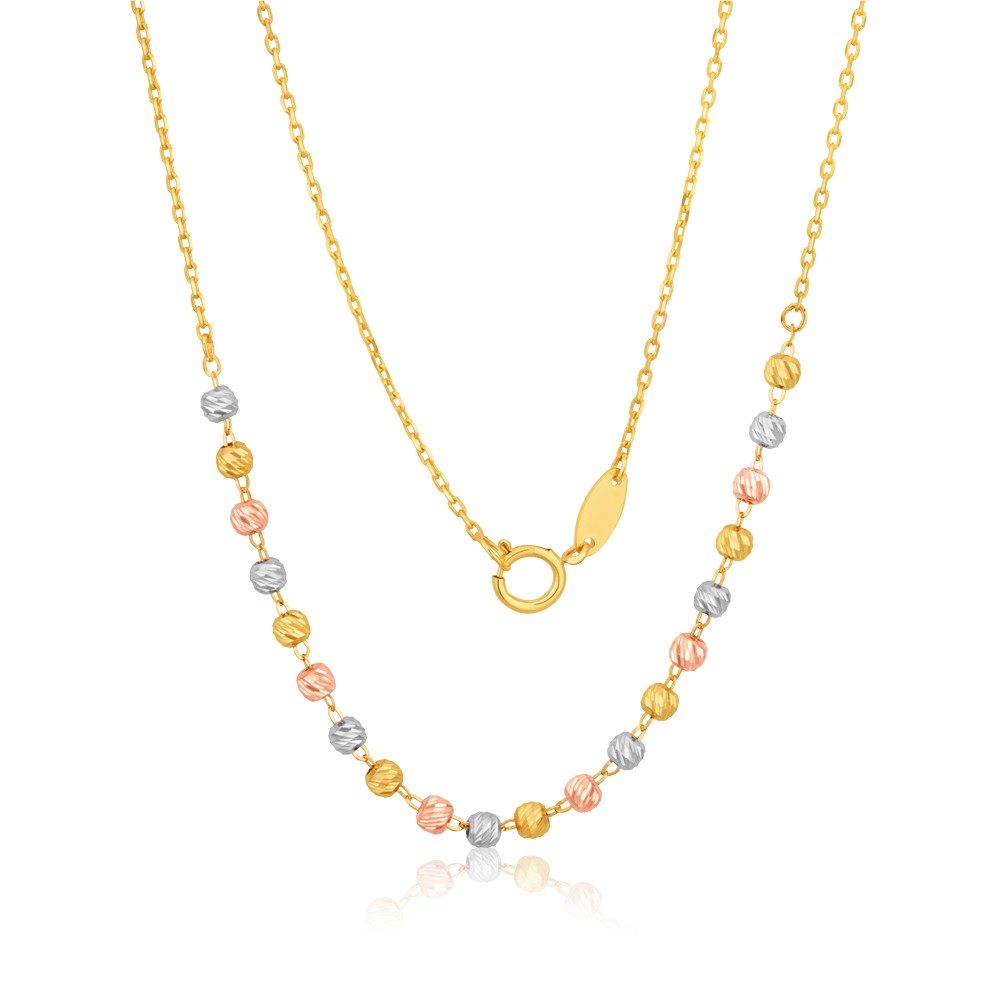 9ct 3-Tone Yellow White Rose Gold Beaded 27cm Anklet
