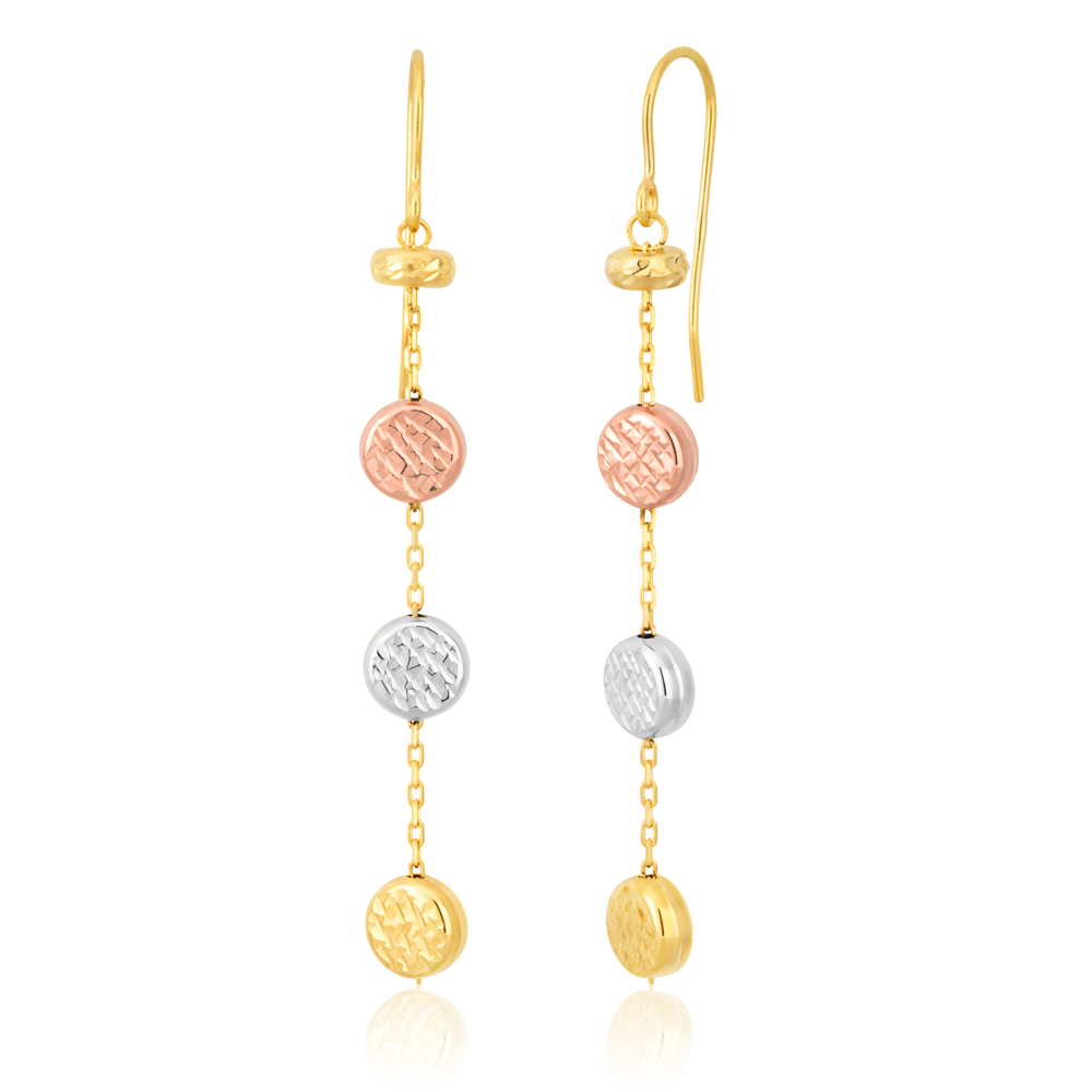 3Tone 9ct Drop Earrings With Three Double Sided Diamond Cut Bead Details