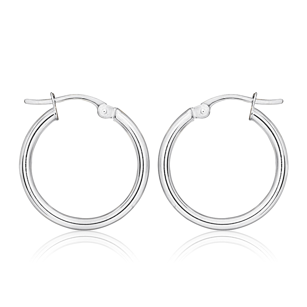 9ct White Gold Plain 30mm Hoops