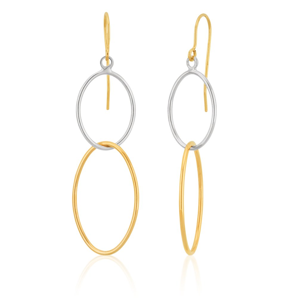 9ct Three Tone Gold Double Oval Hoop Earrings